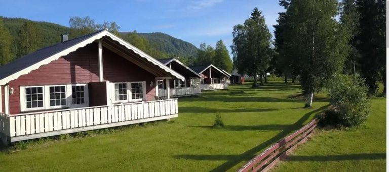 Some of the big and nice cabins at Bjerka Camping seen on a summer day surrounded by green and lively nature.