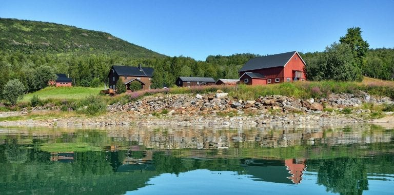 Stekvasselv Gård, a farm located next to the lake, Røssvatnet, in beautiful green nature surroundings.