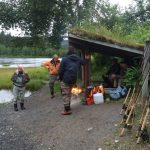 Popular shelter by the river Røssåga for fishermans to gather and take a break.
