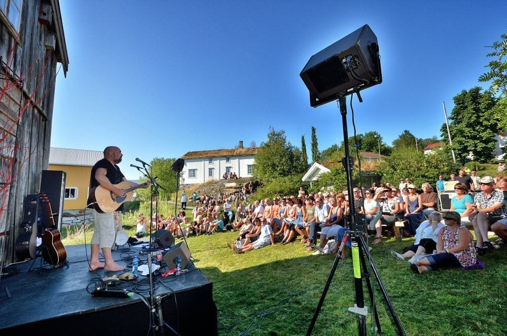 Popular outdoor concert at Lapphella at Hemnesberget during jazz festival on a warm sunny summer day.