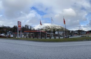 The gas station, Circle K, in Korgen on a cloudy day seen from the main road, the E6 passing right by.