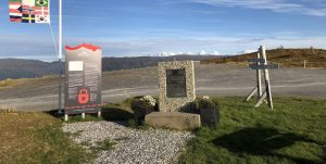 Information boards on top of Korgfjellet in memory of Blodveien. Okstindan in the background.