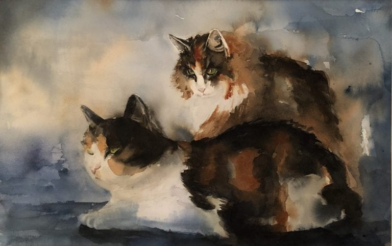 Painting of two brown/black furred cats, painted by artist Hilde Strand.