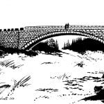 Black-and-white drawing of the bridge crossing the waterfall, Sjøforsen, made by Tore Furuhatt.