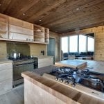 The big and spacious kitchen in a wooden-style at the cabin, Rabothytta.