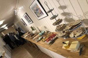 Traditional Norwegian buffet table with lots of delicious cakes and local pastries.