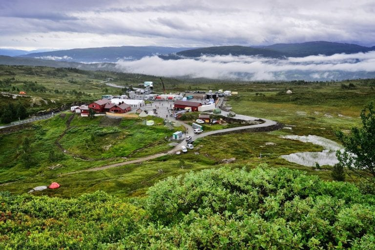 Korgfjellet seen from above, during the first time of construction of the new cabins for rent.