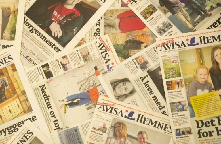 """Lots of different editions of """"Avisa Hemnes"""", the local newspaper."""