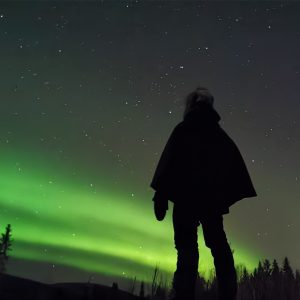 Person overlooking the northern lights on a starlit sky