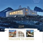 "Front cover of the Hemnes-brochure with Rabothytta as the main picture and a text saying ""Welcome to Hemnes""."