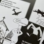 Book page with black and white drawings, cartoon style, telling the story of Hemnesberget in World War 2.