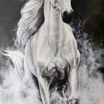 Painting of a beautiful running white horse made by artist Yvonne.