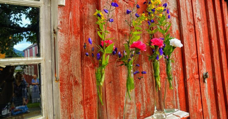 Isakuset at Lapphella, wooden house wall with old red painting decorated with flowers.